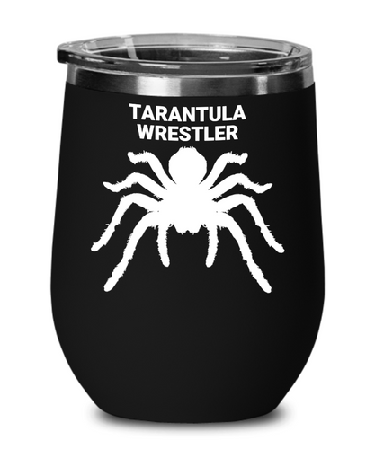 Tarantula Wrestler Black Wine Glass