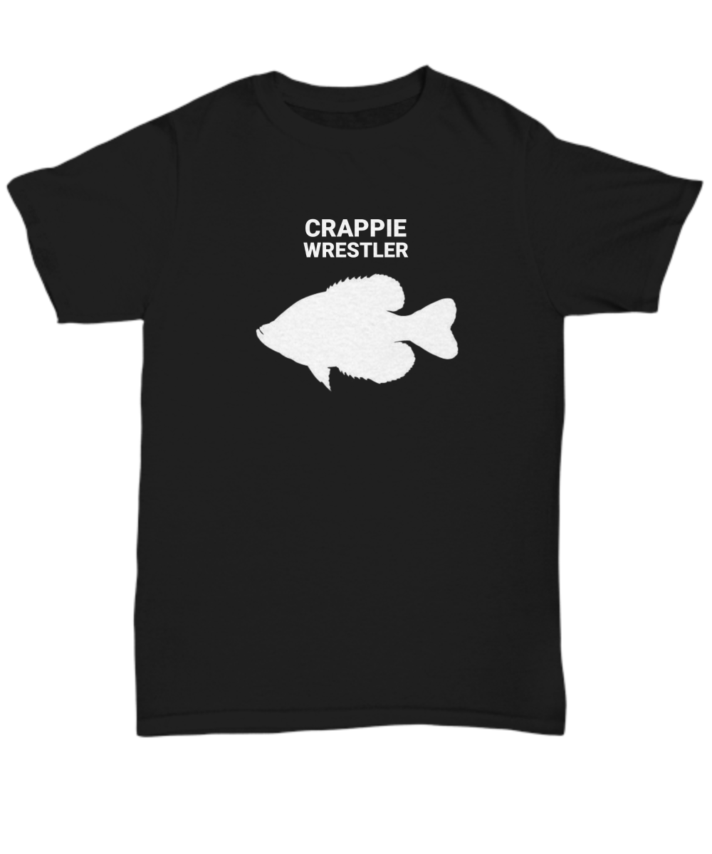 Crappie Wrestler Black Adult T-Shirt