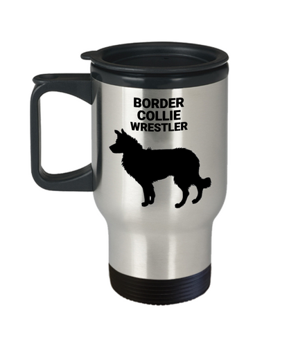 BORDER COLLIE WRESTLER, Stainless Steel, Travel Mug