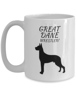 Great Dane Wrestler White Coffee Cups