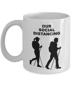 OUR SOCIAL DISTANCING, Couple Hiking, Ceramic White Coffee Cups