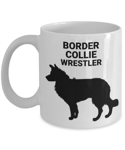 Border Collie Wrestler, White, Ceramic, Coffee Cups