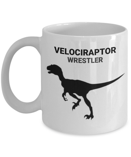 Velociraptor Wrestler White Coffee Cups