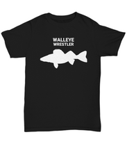Walleye Wrestler Black Adult T-Shirt