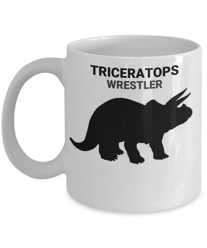 Triceratops Wrestler White Coffee Cups