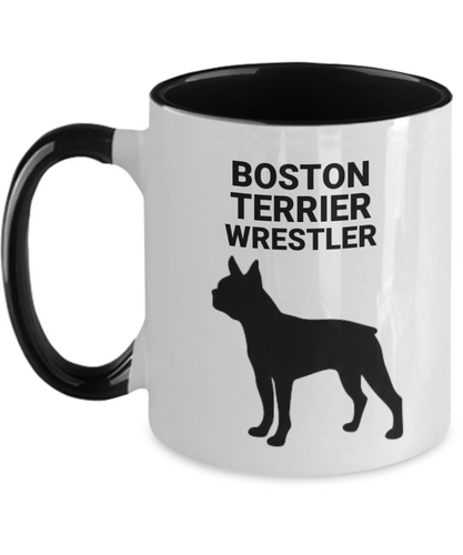 Boston Terrier Wrestler, Ceramic, Two-Tone Coffee Cups
