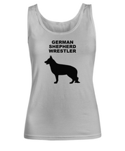 GERMAN SHEPHERD WRESTLER, Women's, Cotton, Tank Tops