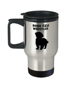 SHIH TZU WRESTLER, Stainless Steel, Travel Mug