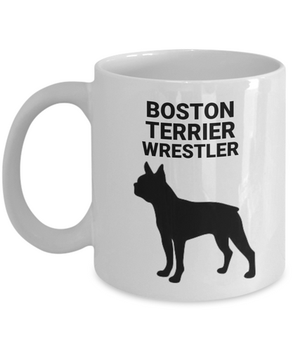 Boston Terrier Wrestler, White, Ceramic, Coffee Cups