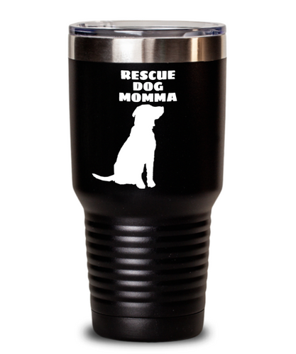 Rescue Dog Momma Black Tumblers