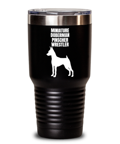 Miniature Doberman Pinscher Wrestler Black Tumbler