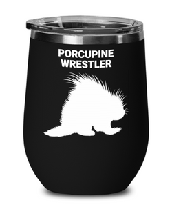 Porcupine Wrestler Insulated Black Wine Glass
