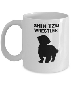 SHIH TZU WRESTLER, Ceramic, White, Coffee Cups