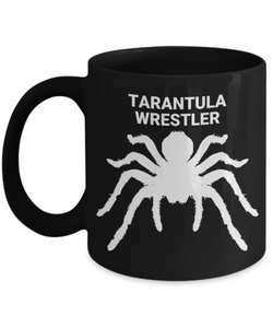 Tarantula Wrestler Black Coffee Cup