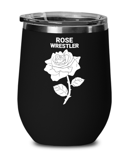 Rose Wrestler Black Wine Glass