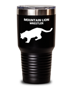 Mountain Lion Wrestler Black Tumbler
