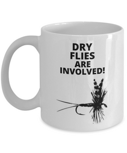 Dry Flies Are Involved! White Coffee Cups