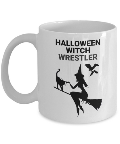 Halloween Witch Wrestler White Coffee Cups