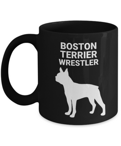 Boston Terrier Wrestler, Black, Ceramic, Coffee Cups