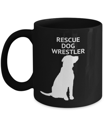 Rescue Dog Wrestler Black Coffee Cups