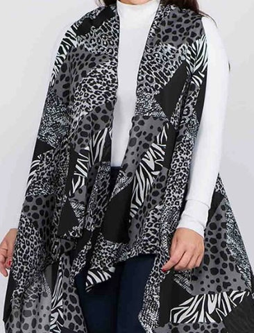 RESTOCKED! Black/Gray Animal Print, Plus Size Vest Arrives: 4/2/20