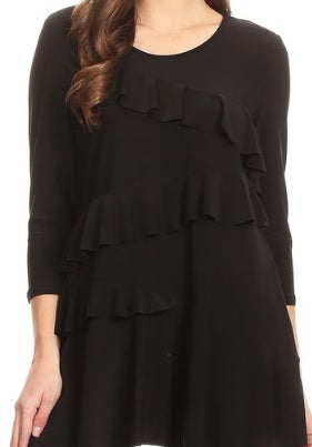 NEW! RC Original Black Ruffle Top! S-XL and 1X-3X  Arrives: 2/23