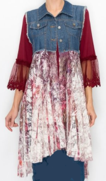NEW~  PRE-Order!  Denim and Plum Lace Vest: S/M, L,/XL, XXL and XXXL! Arrives:   4/22 and 4/30