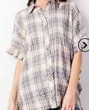 New Over Sized Denim Plaid Top S-L (will fit up to 2X)