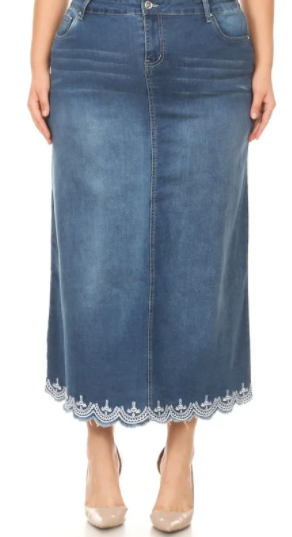 NEW! Indigo Wash Eyelet Maxi: XL-3X  Arrives: 2/26 and 3/3