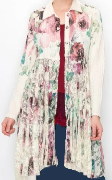NEW! Pre-Order: Ivory Roses Long Jacket: S/M . L/XL, XXL and XXXL Arrives: 4/16 and 4/222
