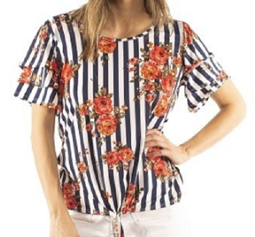 NEW! Navy/Coral Striped Top S-XL