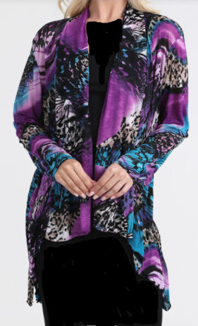 PRE-ORDER:  Purple/Turquoise Print High/Low Cardigan: S-XL. Arrives  4/30