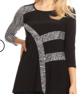 Black Striped Top S and XL, 1X,2X