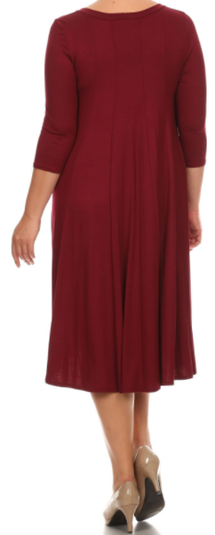 NEW! Burgundy 3/4 Sleeve Dress: Small--3X  Arrives: 5/8