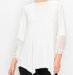 Ivory/Lace Sleeve Top: S-XXL  Arrives: May 15