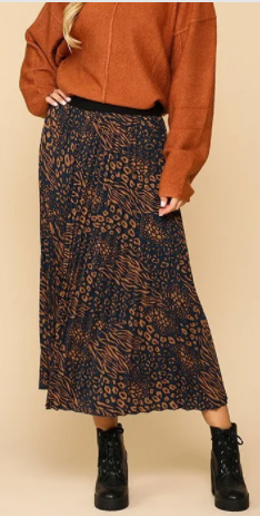 NEW! Navy  Print Aline Midi Skirt! S-2X