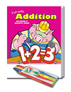 25 Pack - Fun With Addition Kid's Educational Coloring & Activity Books - ZoCo Products