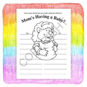 25 Pack - Mom's Having A Baby Kid's Coloring & Activity Books - ZoCo Products