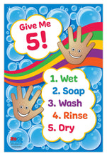 Load image into Gallery viewer, Give Me 5! Hand Washing for Kids Poster - 12x18 - Laminated - ZoCo Products