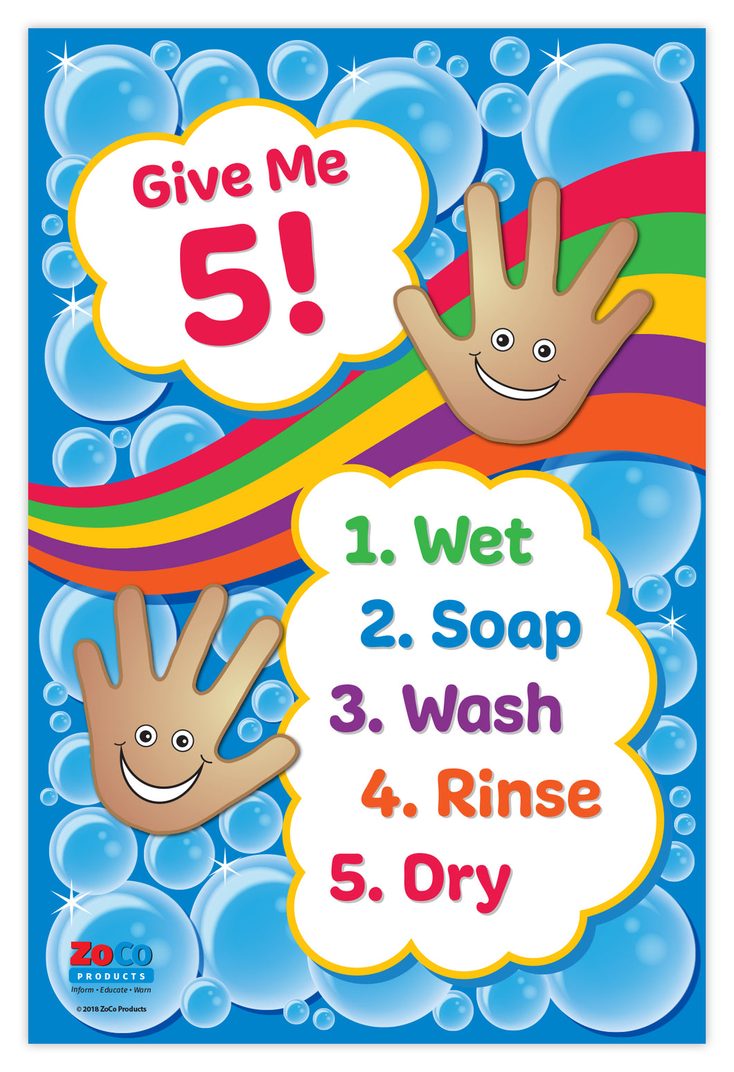 Give Me 5! Hand Washing for Kids Poster - 12