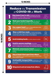 Reduce The Transmission of COV-19 at Work Poster - 12x18 - NON-Laminated