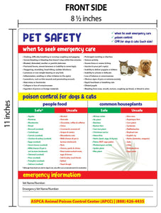 Pet Safety - Laminated Card with Magnets - 8.5 x 11 in.