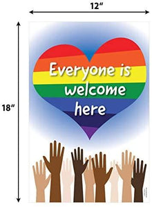 "Everyone is Welcome Here Poster - Diversity Poster - 12""x18"" - Laminated"
