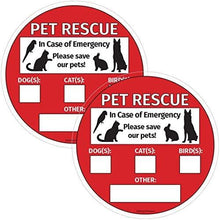 Load image into Gallery viewer, Save Our Pets Sign - Emergency Pet Rescue - Inside Window Static Cling Decal - Easy to Remove and Reposition - 5 x 5 in.