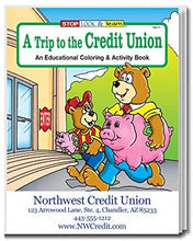 Load image into Gallery viewer, A Trip to The Credit Union Kid's Coloring & Activity Books in Bulk (Quantity of 250) - Customize with Your Information