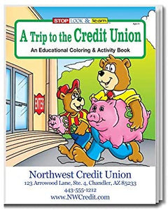 A Trip to The Credit Union Kid's Coloring & Activity Books in Bulk (Quantity of 250) - Customize with Your Information