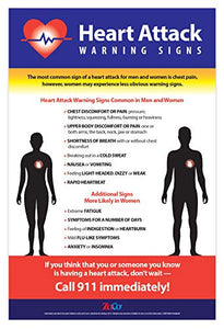 "Heart Attack Symptoms Poster - 12""x18"" - Laminated"
