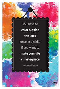 "Color Outside The Lines Poster - Einstein Quote Poster - 12""x18"" - Laminated"