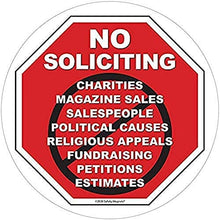 Load image into Gallery viewer, No Soliciting Vinyl Static Cling Decal | No Trespassers Sticker- for Homes, Offices, Businesses | Modern Door Porch Window Decor Sign | Black & Red | Inside Outside Removable