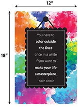 "Load image into Gallery viewer, Color Outside The Lines Poster - Einstein Quote Poster - 12""x18"" - Laminated"